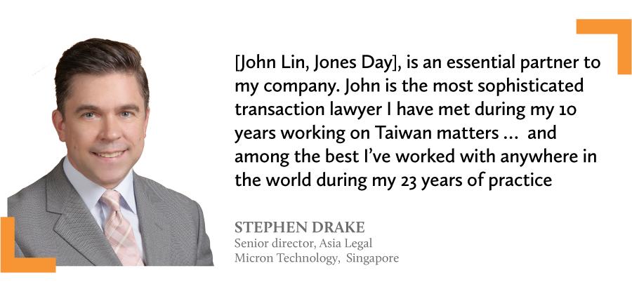 Micron Technology's senior director, Asia Legal, Stephen Drake in Singapore John Lin Taipei lawyer Jones Day